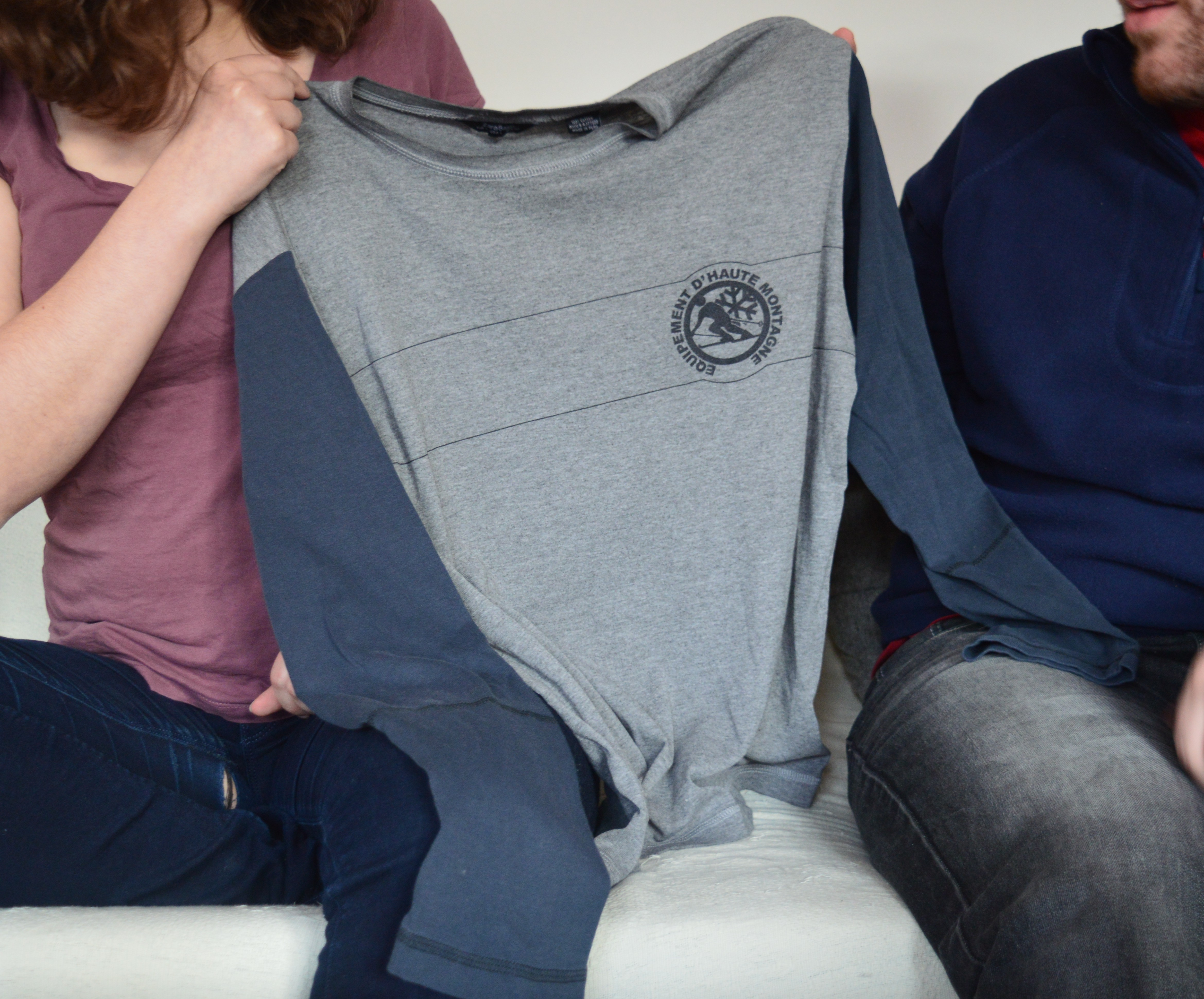 When he lost a bet, Agnes asked for one of Gabriel's T-Shirts as her prize. She wore the T-shirt as a cosy reminder when he wasn't around.